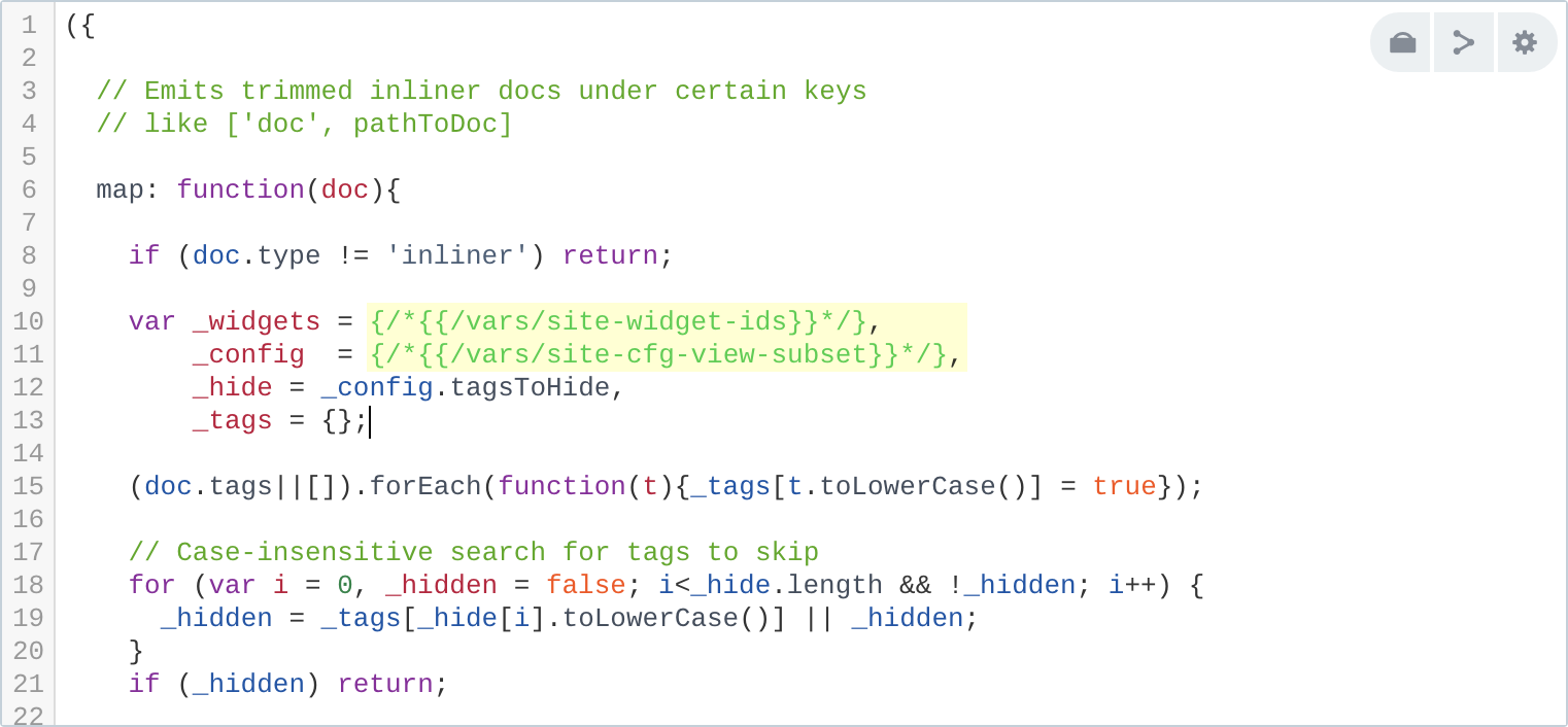 Example of real inlining in view, working to show this page. Highlighted parts are substituted.